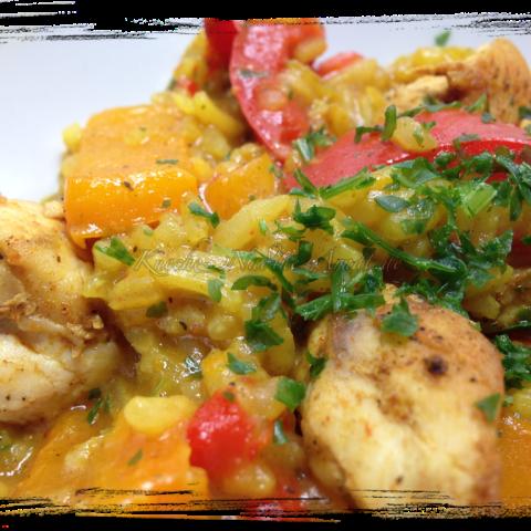 Curry Reis mit Paprika und Hähnchenbrust